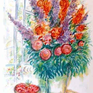 Marc Chagall, Farblithographie, Blumenstillleben