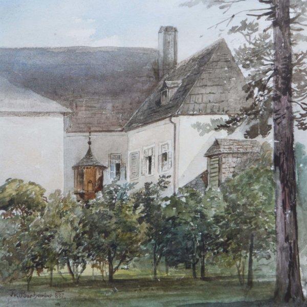 Franz Barbarini, Aquarell, Gutshof