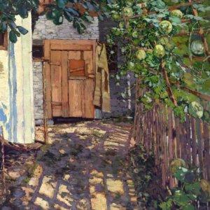 Josef Stoitzner, Gemälde, Stalltür mit Obstspalier