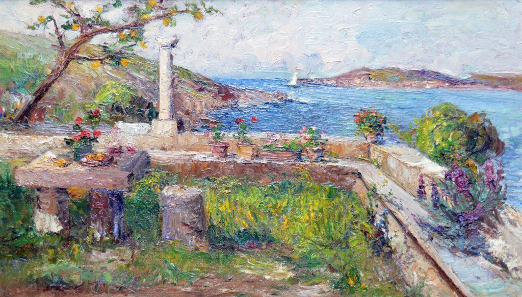 Leontine von Littrow, Gemälde, Terrasse in Lovrana