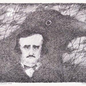 Paul Flora Tuschezeichnung, Edgar Allan Poe
