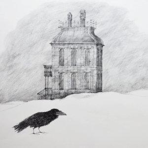 Paul Flora Tuschezeichnung, Ein leeres Haus