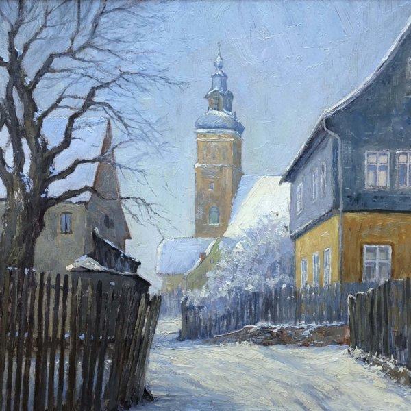 Konstantin Stoitzner, Verschneites Dorf, Gemälde