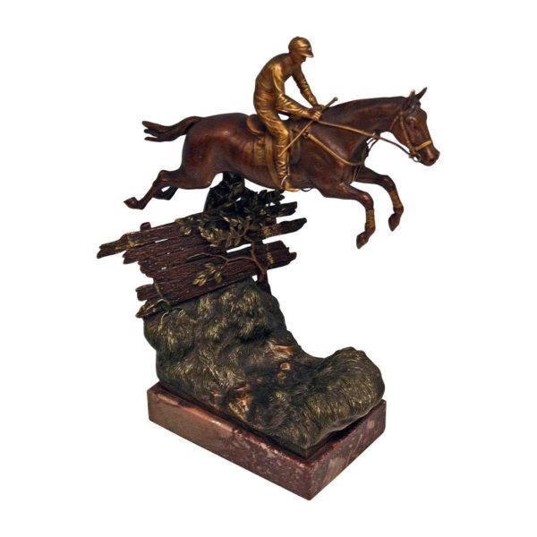 Bergmann Bronze, Jockey Reiter auf springenden Pferd