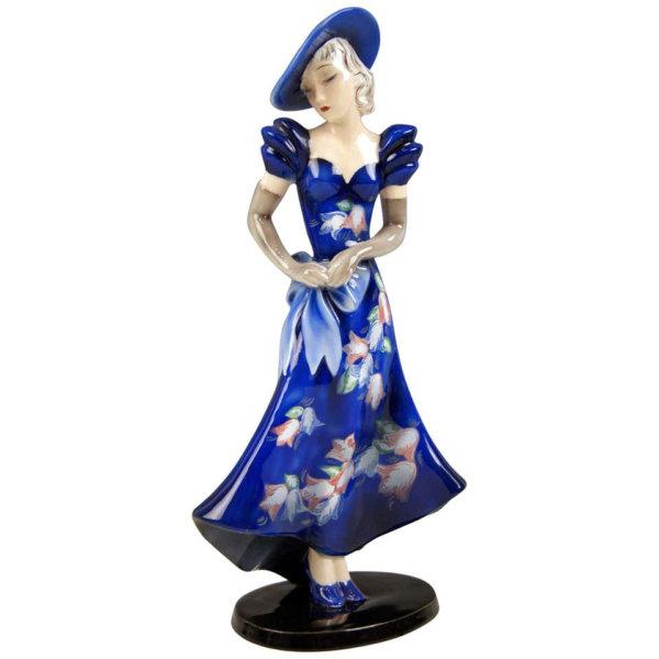Goldscheider Keramik, Dame mit Hut und blauem Kleid