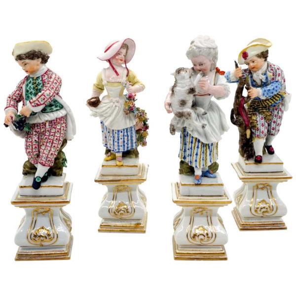 Meissen Porzellan, 4 Gärtnerkinder auf Sockeln