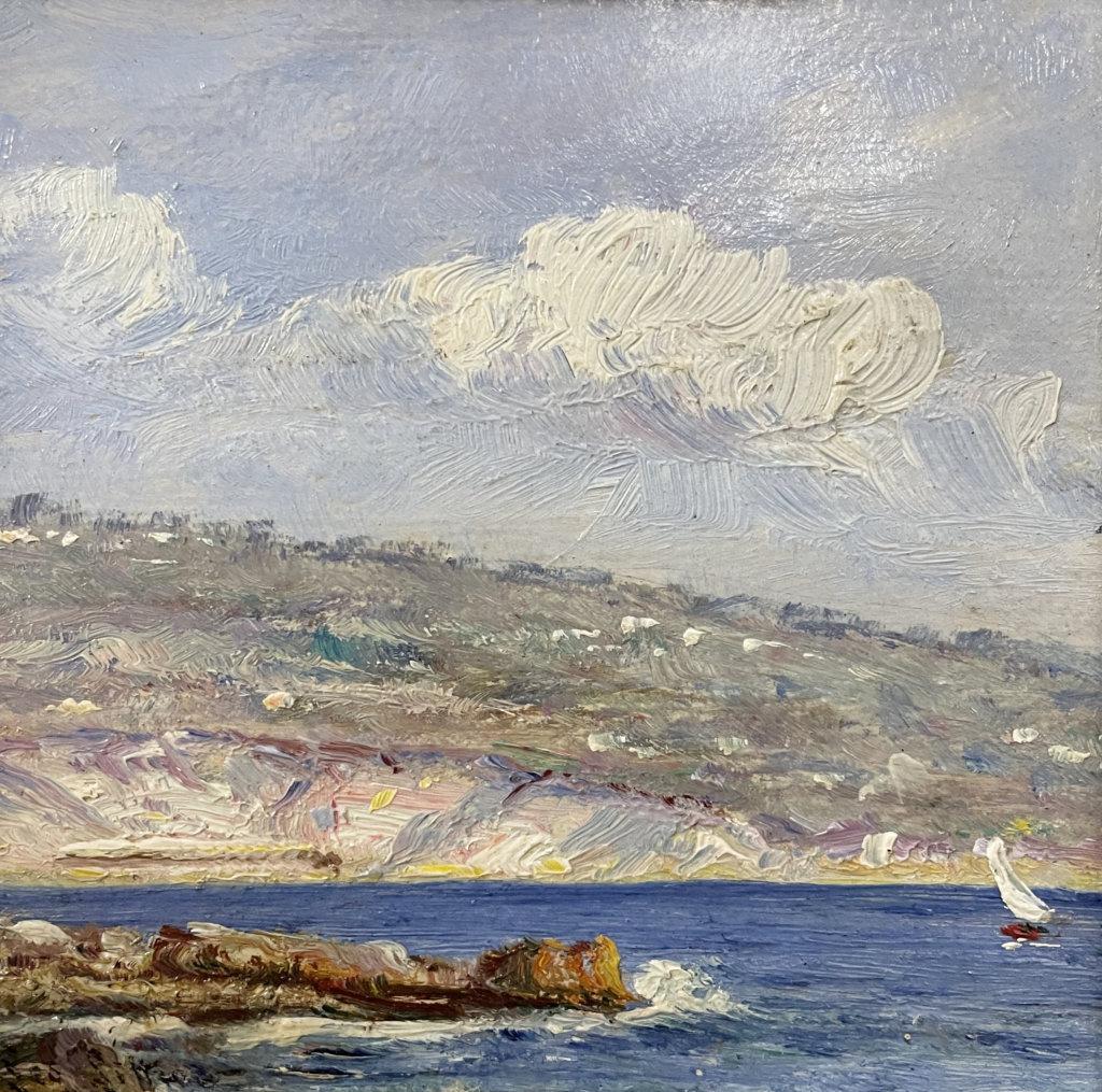 Leontine von Littrow, Küste mit Segelboot