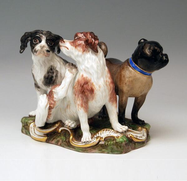 Meissen Porzellan, Tier Figuren Mopse