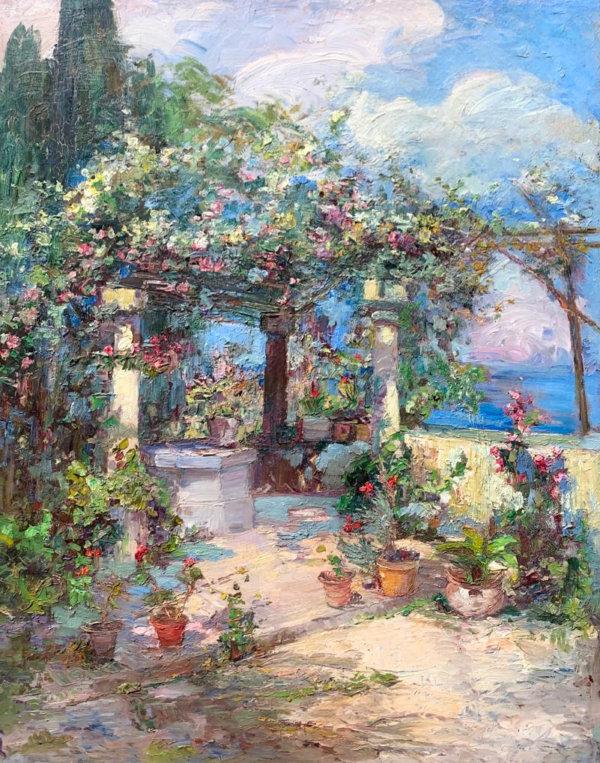 Leontine von Littrow, Blühende Terrasse - Gemälde