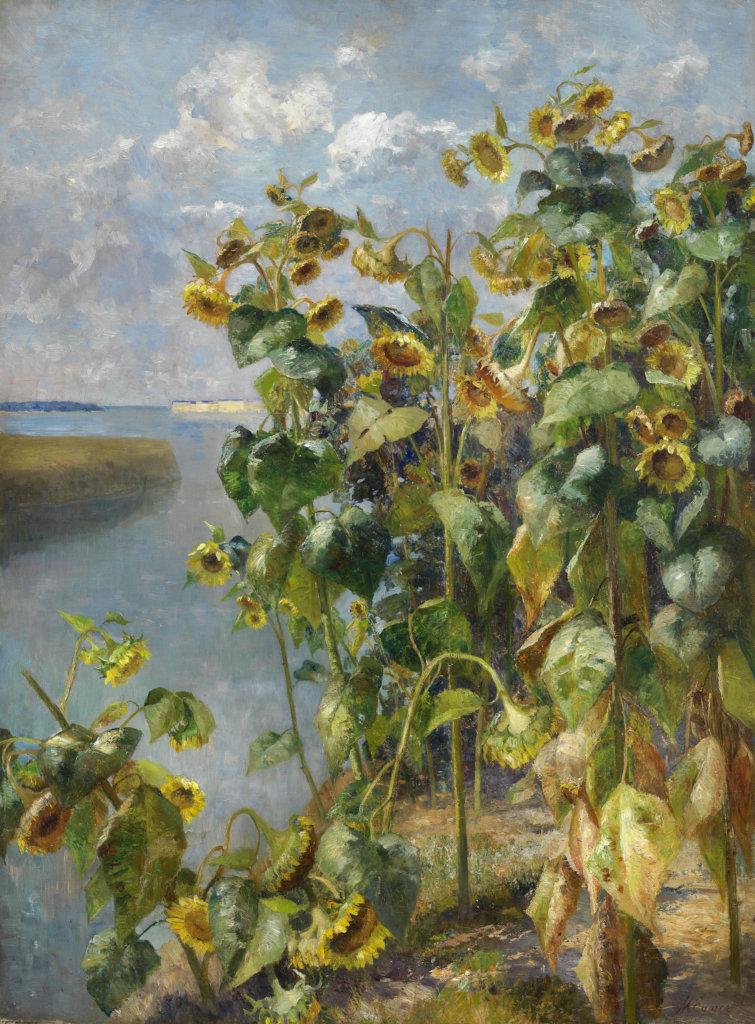 Marie Egner, Sonnenblumenfeld bei Venedig - Gemälde