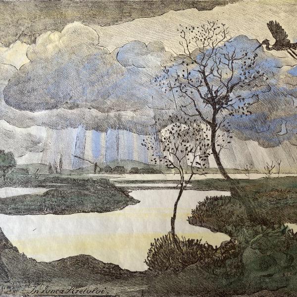 Oskar Laske, In Lunca Siretului - Lithographie