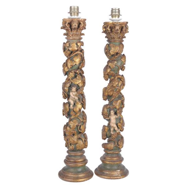 Paar Säulen - Barock, Holz geschnitzt