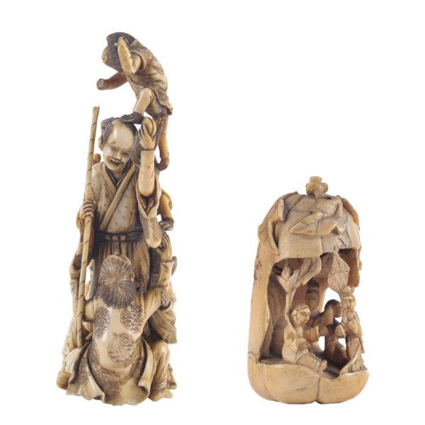 Zwei Zierfiguren - Asiatisch - Elfenbein