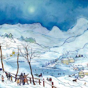 Ernst Huber, Hinterglasbild, Winterlandschaft