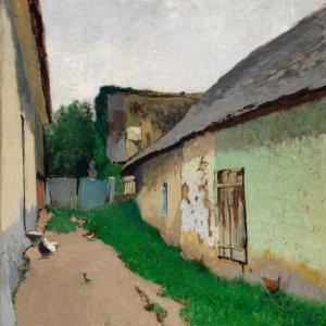 Ferdinand Brunner, Gemälde, Blick in den Hof