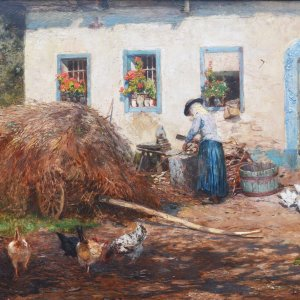 Hugo Charlemont, Gemälde, Am Bauernhof